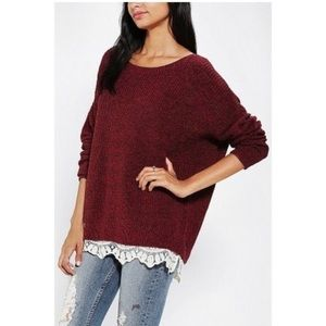 UO Pins & Needles Red Knit Sweater with Lace Trim